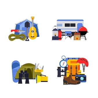 Set van vlakke stijl kampeerelementen stapels, toeristisch materiaal, kamp en rugzak, reizen en recreatie