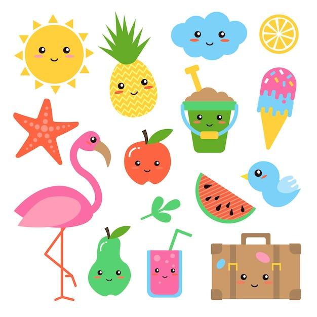 Set van vlakke stijl zomerelement: flamingo, ananas, tropisch blad, zon, ijs. vectorillustratie voor babysticker, kaart, webpictogram, plakboekontwerp, poster. leuke en grappige stickers in kinderstijl