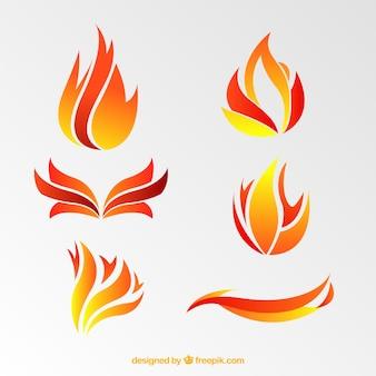 Set van vlammen in abstracte ontwerp