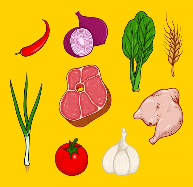 Set van vlees en groenten