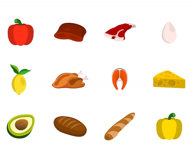 Set van vlees, fruit, noten en groenten. voedsel pictogram. cartoon vectorillustratie.