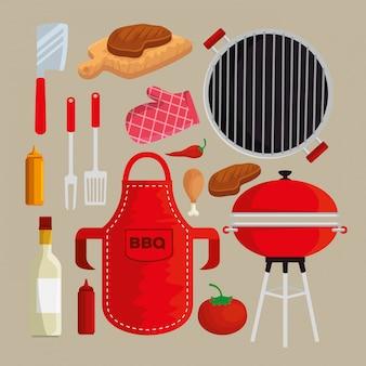 Set van vlees met dijen grill en sauzen