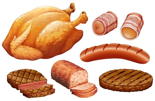 Set van vlees op witte achtergrond