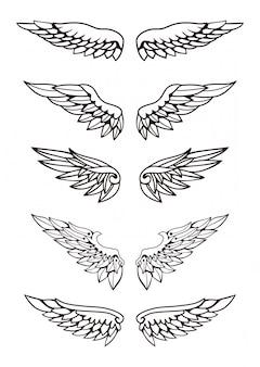 Set van vleugels illustratie