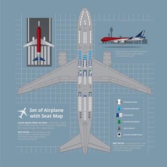 Set van vliegtuig met stoel kaart geïsoleerde illustratie