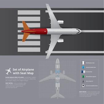 Set van vliegtuig met stoel kaartsjabloon