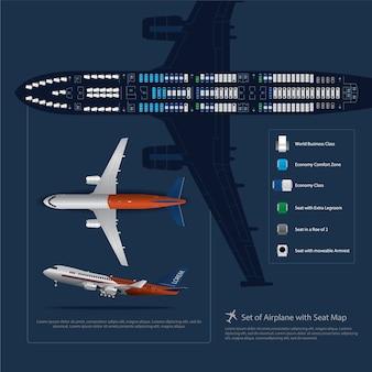 Set van vliegtuig met zetel kaart geïsoleerd vectorillustratie