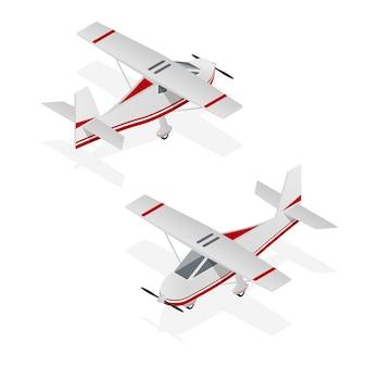 Set van vliegtuig min op isometrische weergave