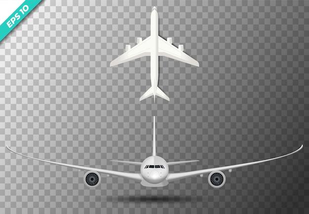 Set van vliegtuig voorzijde en bovenste illustratie