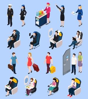 Set van vliegtuigpassagiers