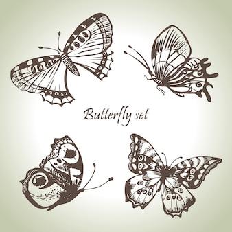 Set van vlinder. hand getekende illustraties