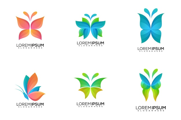 Set van vlinder logo ontwerp