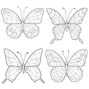 Set van vlinders zwart-wit. sketch.coloring boek anti-stressprogramma voor kinderen en volwassenen.
