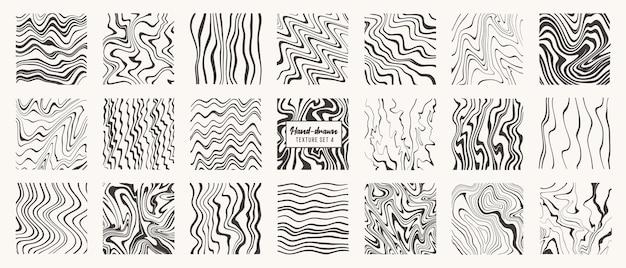 Set van vloeibare handgetekende patronen geïsoleerd vector texturen gemaakt met inktpotloodborstel