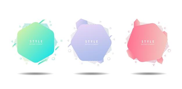 Set van vloeibare kleur abstracte vormen vloeiend ontwerp