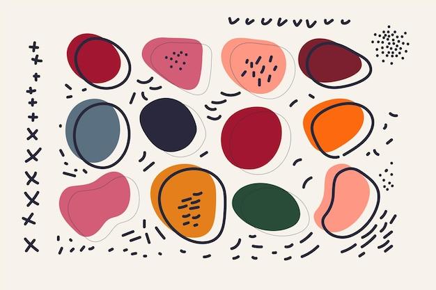 Set van vloeibare vormen in memphis-stijl met gedempte kleuren. trendy abstracte compositie, ontwerpsjabloon voor sociale media, prints. trendy artistieke illustratie