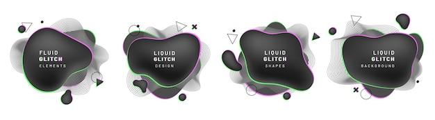 Set van vloeiende blob-overlays en dynamische lijnen