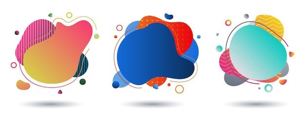 Set van vloeiende kleurrijke verloopvorm op witte achtergrond.