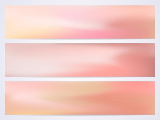 Set van vloeiende moderne pastel sjablonen met tinten roze, geel, rood en oranje.