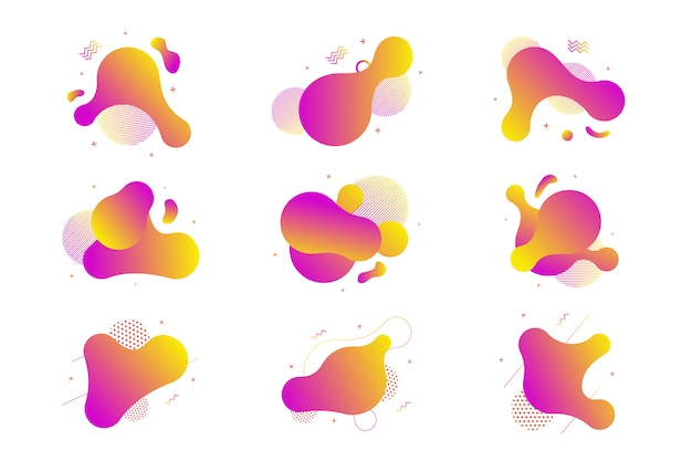 Set van vloeistof geïsoleerde abstracte geometrische violet en oranje verloopvormen voor modern