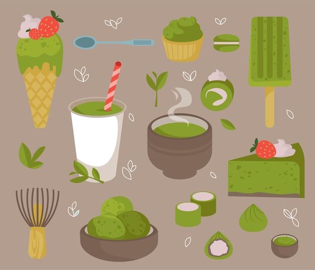 Set van voedsel gemaakt van matchapoeder ijsgarde cake mochi cake thee en koffie