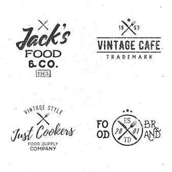 Set van voedsel gerelateerde vintage etiketten, insignes, logo's, ontwerpelementen.