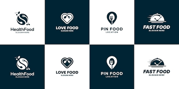 Set van voedsel logo ontwerp pictogram symbool
