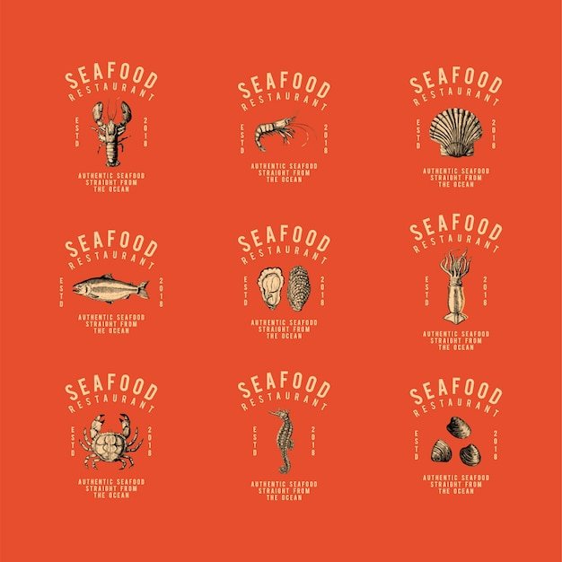 Set van voedsel logo ontwerp vectoren