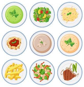 Set van voedsel op schotels