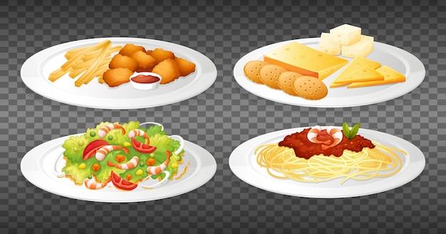 Set van voedsel op transparant