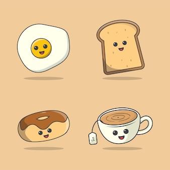 Set van voedsel voor het ontbijt, kawaii ontbijt eten illustratie