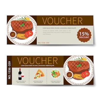 Set van voedsel voucher korting sjabloonontwerp
