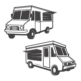 Set van voedsel vrachtwagens op witte achtergrond. elementen voor logo, label, embleem, teken, merkmarkering.