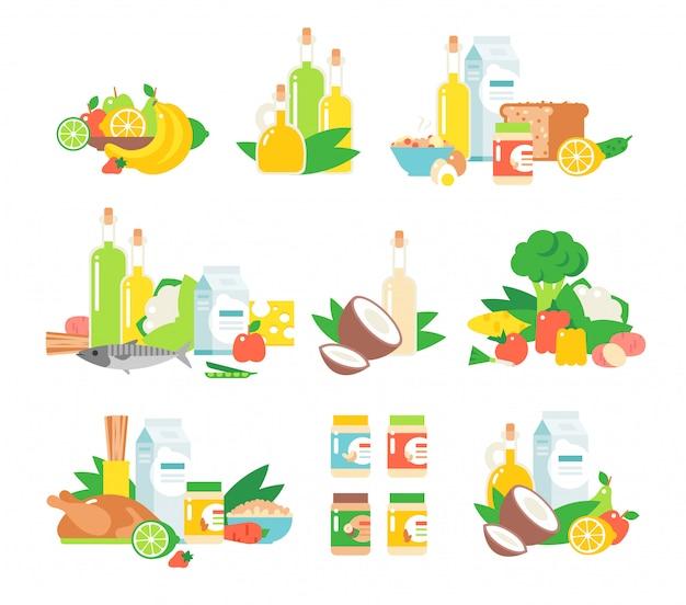 Set van voedsel.