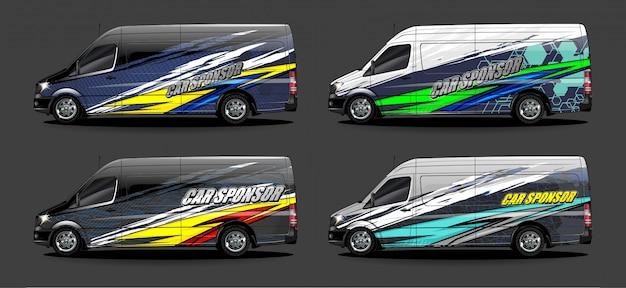 Set van voertuig grafische kit vector. moderne abstracte achtergrond voor auto wrap branding en auto sticker decals livery