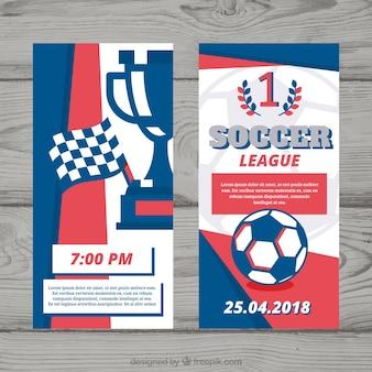 Set van voetbal competitie flyers in vlakke stijl