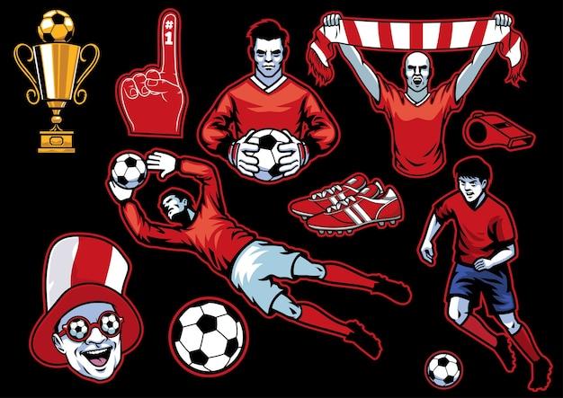 Set van voetbal concept