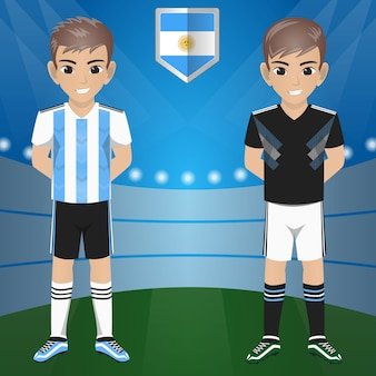 Set van voetbal / voetbal supporter / fans van het nationale team van argentinië