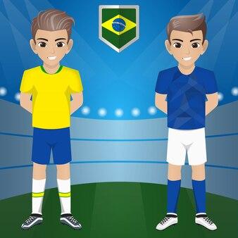 Set van voetbal / voetbal supporter / fans van het nationale team van brazilië