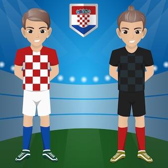 Set van voetbal / voetbal supporter / fans van het nationale team van croasia