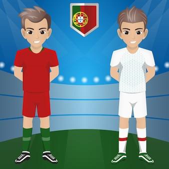 Set van voetbal / voetbal supporter / fans van het nationale team van portugal