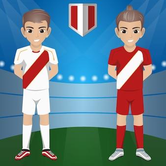 Set van voetbal / voetbal supporter / fans van peru national team
