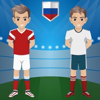 Set van voetbal / voetbal supporter / fans van rusland national team