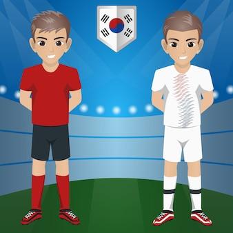 Set van voetbal / voetbal supporter / fans van zuid korea national team