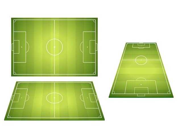 Set van voetbal voetbalvelden