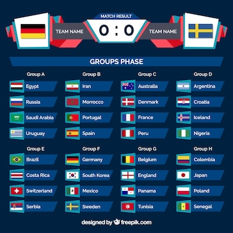 Set van voetbal wereldkampioenschap groepen in vlakke stijl