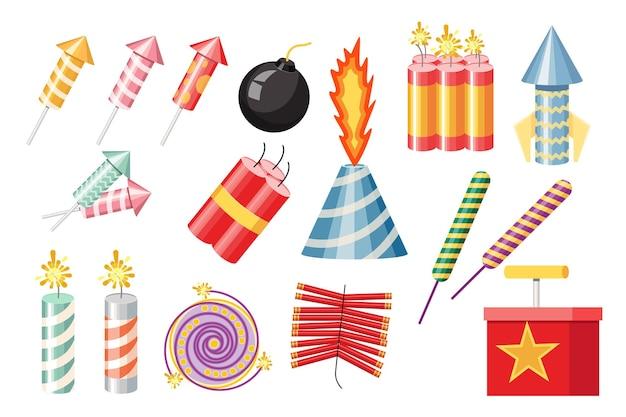 Set van voetzoekers, pyrotechniek en vuurwerk. raket en flapper met bom, brandend vuurwerk voor verjaardagsfeestje, feestelijke groet geïsoleerd op een witte achtergrond. cartoon vectorillustratie