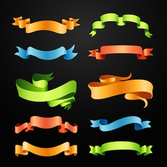 Set van volledige kleuren linten illustratie