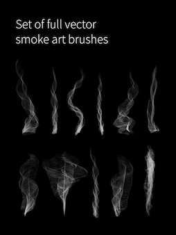 Set van volledige vector rook kunst penselen