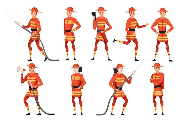 Set van volwassen mannelijke brandweerman die op de grond staat met een vuurvaste vorm cartoon karakter vector